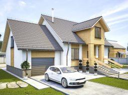 Проект мансардного дома с гаражом, террасой и балконом «КМ-97»