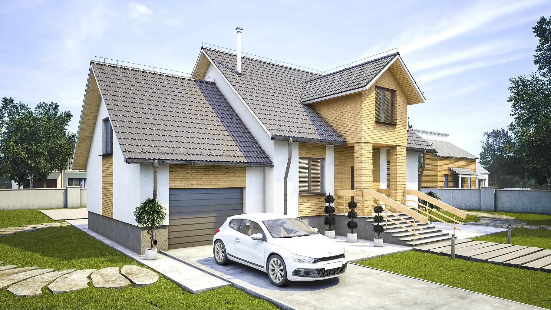 Проект мансардного дома с гаражом, террасой и балконом «КМ-97» - фото №2