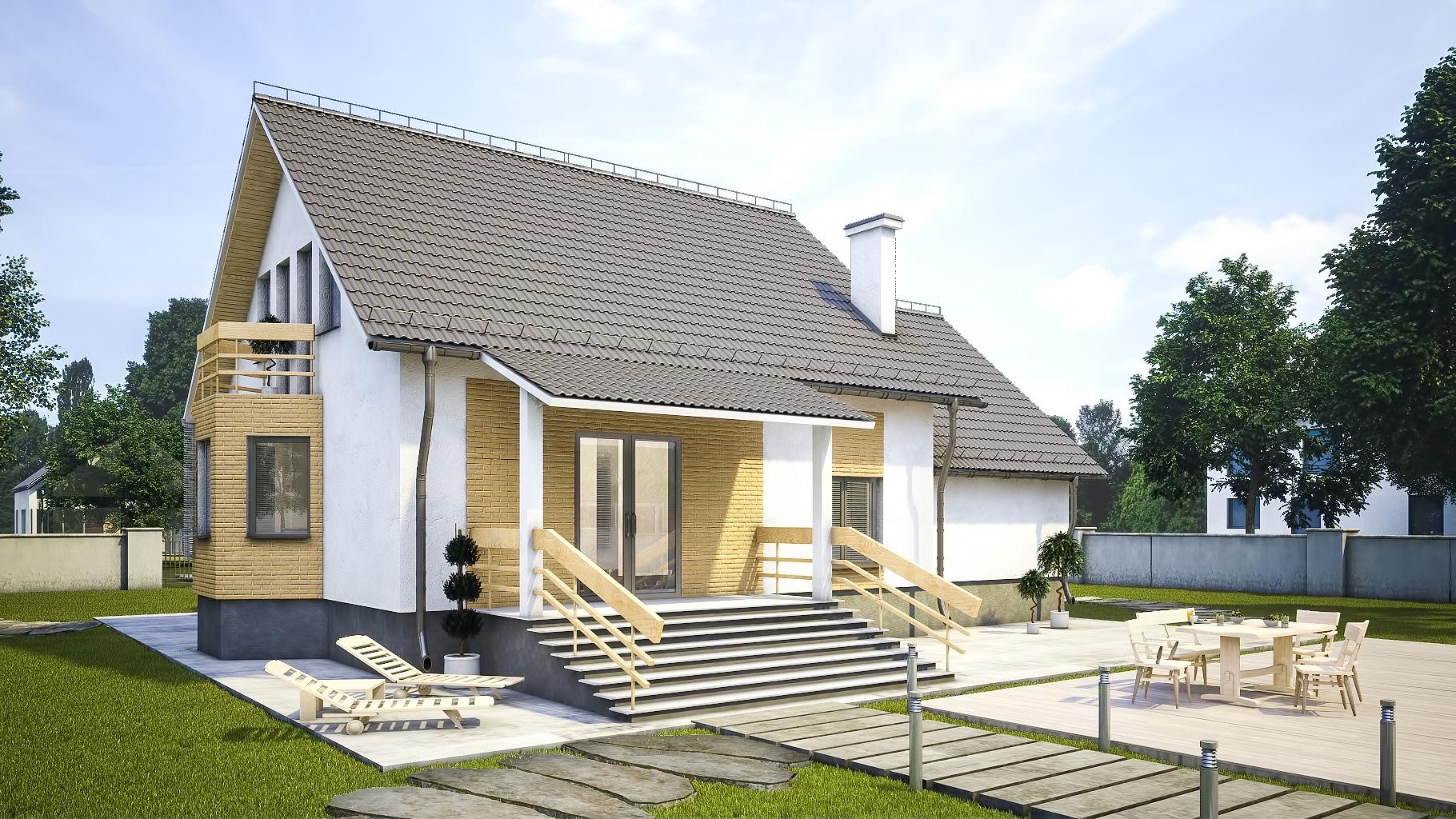 Проект мансардного дома с гаражом, террасой и балконом «КМ-97» - фото №1