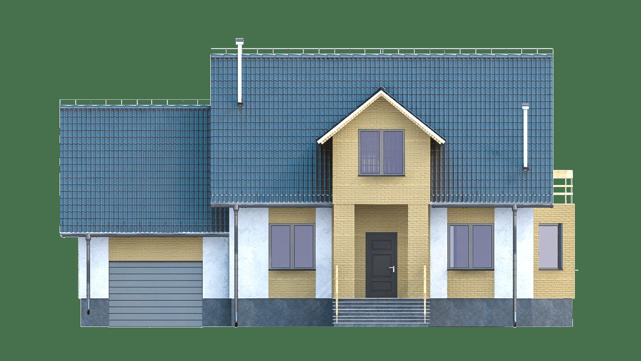 Фасад мансардного дома с гаражом, террасой и балконом «КМ-97» - спереди