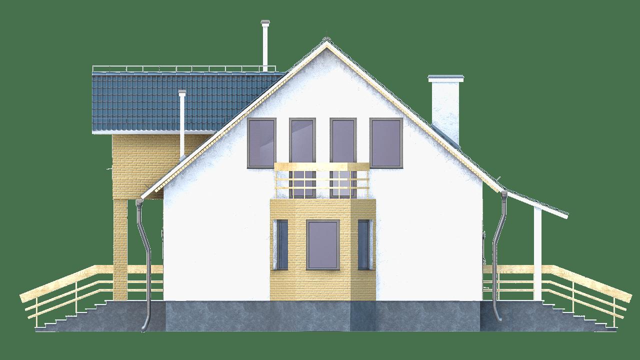 Фасад мансардного дома с гаражом, террасой и балконом «КМ-97» - справа