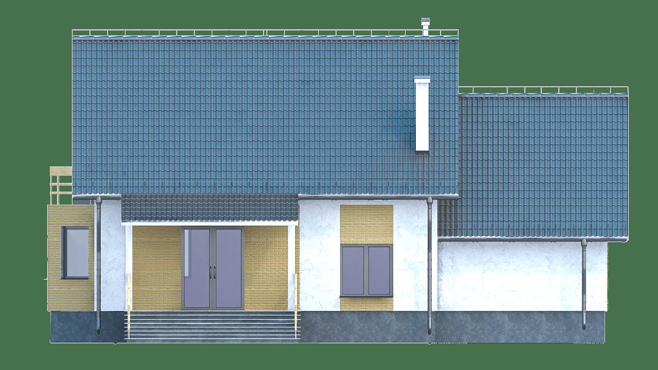 Фасад мансардного дома с гаражом, террасой и балконом «КМ-97» - сзади