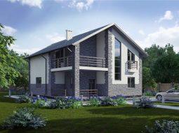 Проект мансардного дома с террасой «КМ-98»