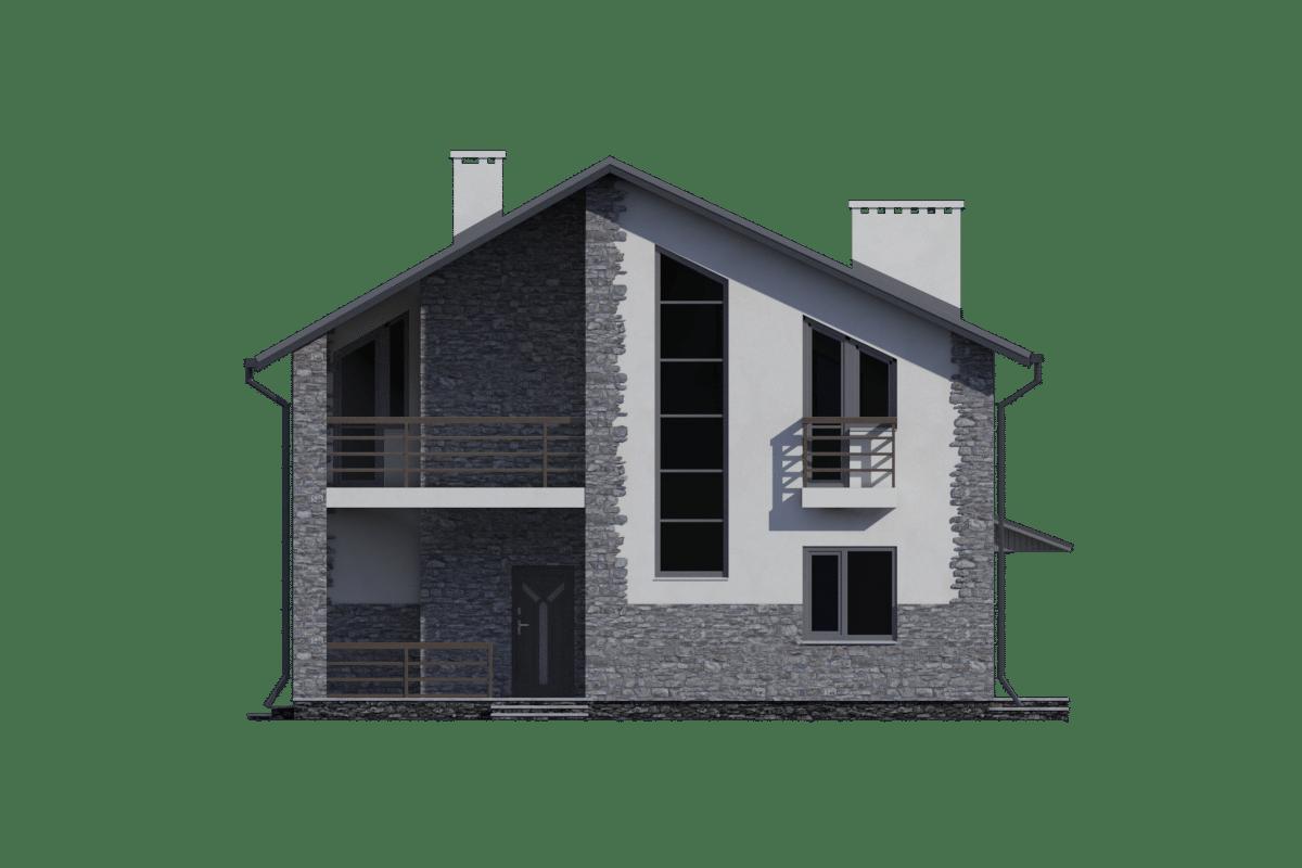 Фасад мансардного дома с террасой «КМ-98» - сзади