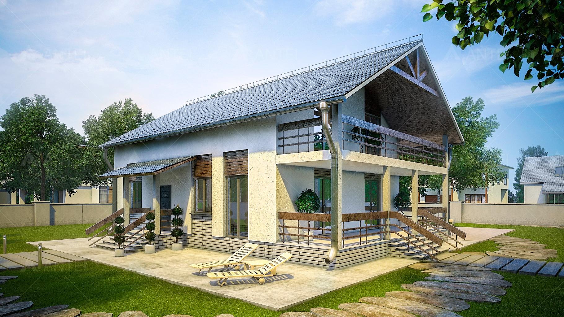 Проект мансардного дома с террасой и балконом «КМ-99» - фото №1