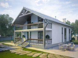 Проект мансардного дома с террасой и балконом «КМ-99»