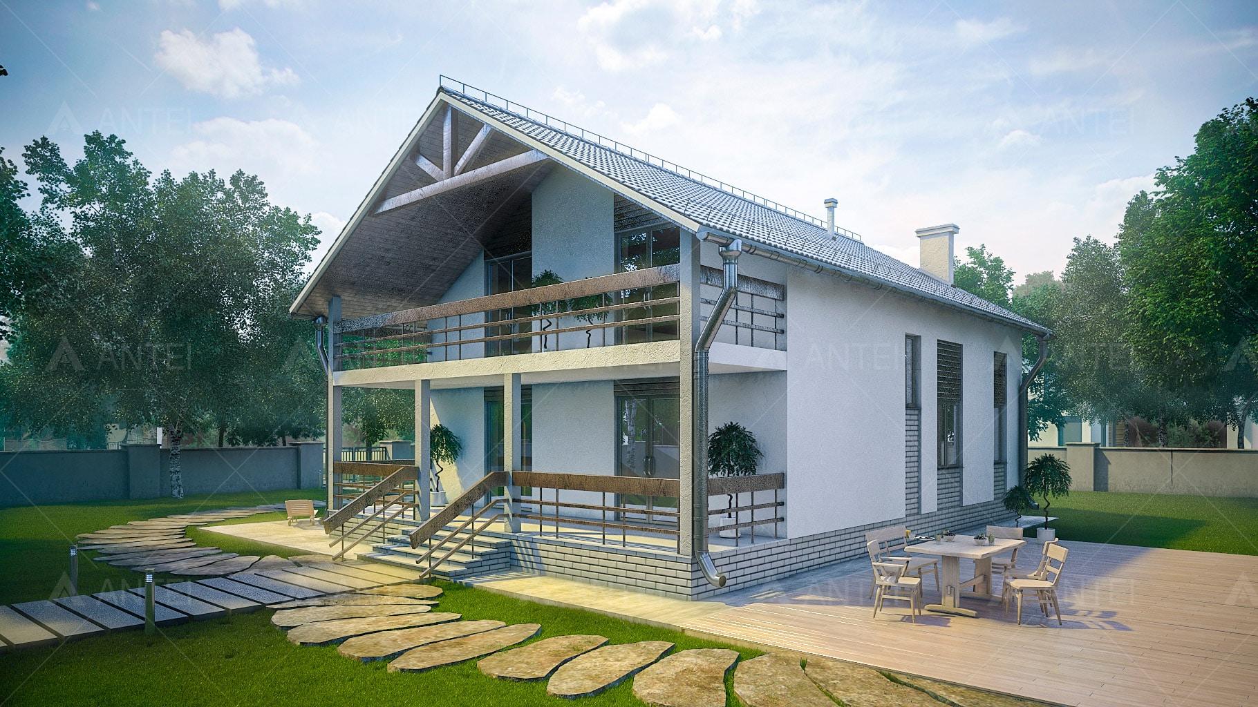Проект мансардного дома с террасой и балконом «КМ-99» - фото №2