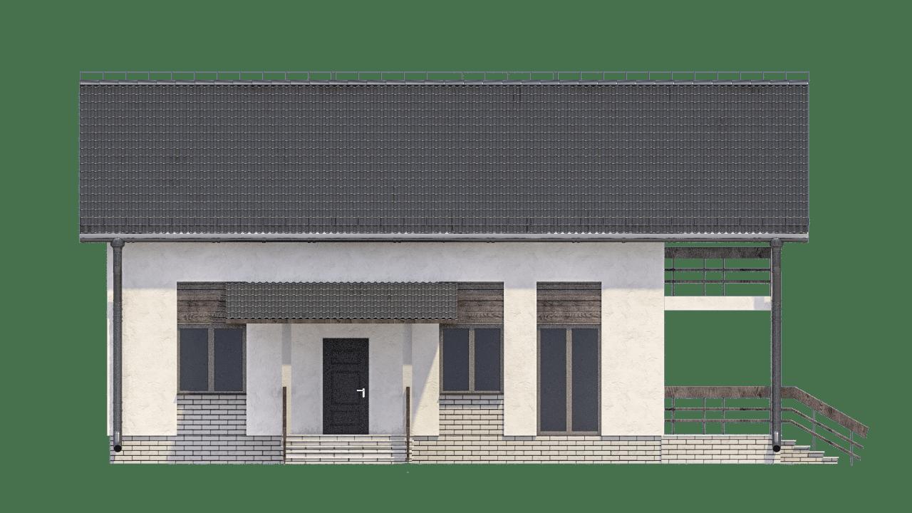 Фасад мансардного дома с террасой и балконом «КМ-99» - спереди