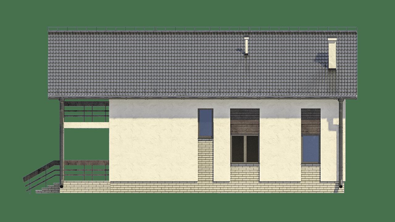 Фасад мансардного дома с террасой и балконом «КМ-99» - сзади