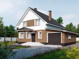 Проект мансардного дома с гаражом «КМ-9»