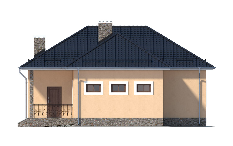 Фасад одноэтажного дома с гаражом и террасой «КО-11» - справа