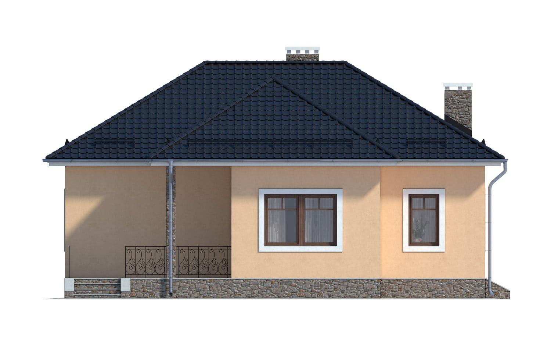 Фасад одноэтажного дома с гаражом и террасой «КО-11» - слева