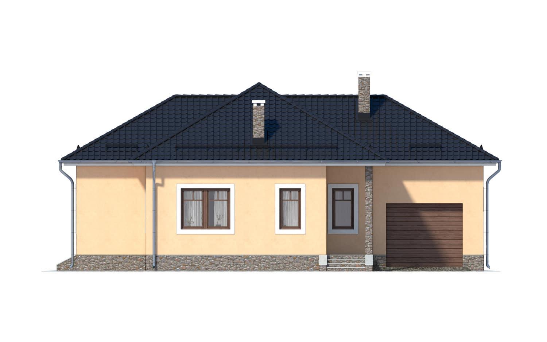 Фасад одноэтажного дома с гаражом и террасой «КО-11» - спереди