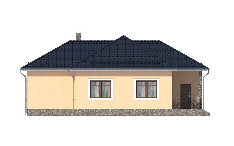 Фасад одноэтажного дома с гаражом и террасой «КО-11» - сзади