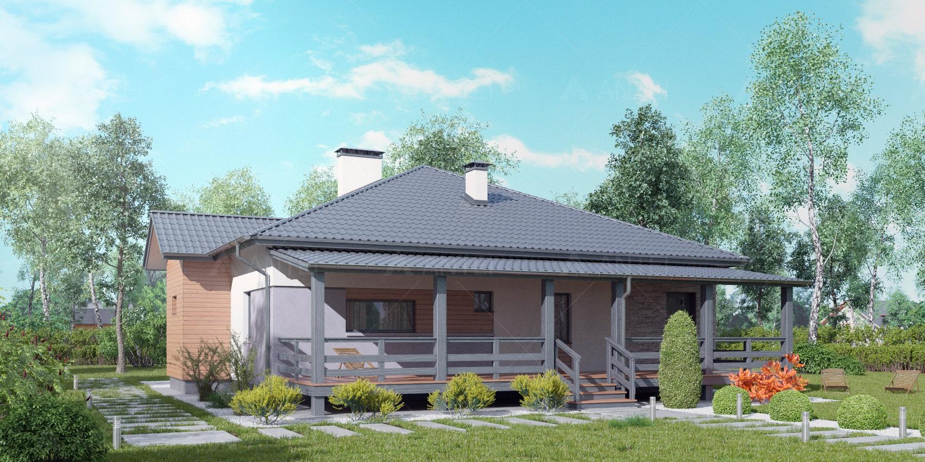 Проект одноэтажного дома с террасой «КО-115» - фото №1