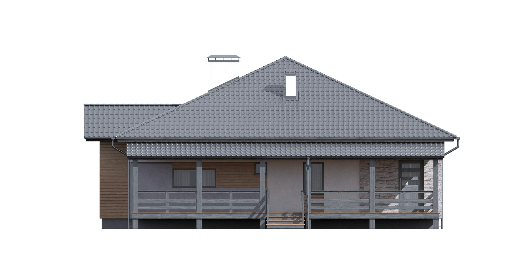 Фасад одноэтажного дома с террасой «КО-115» - спереди