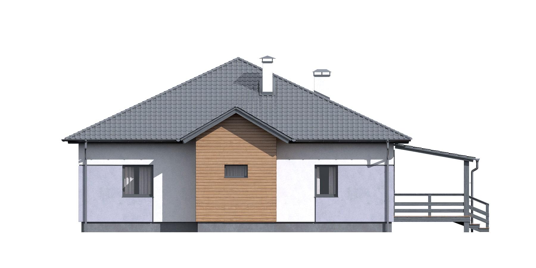 Фасад одноэтажного дома с террасой «КО-115» - слева