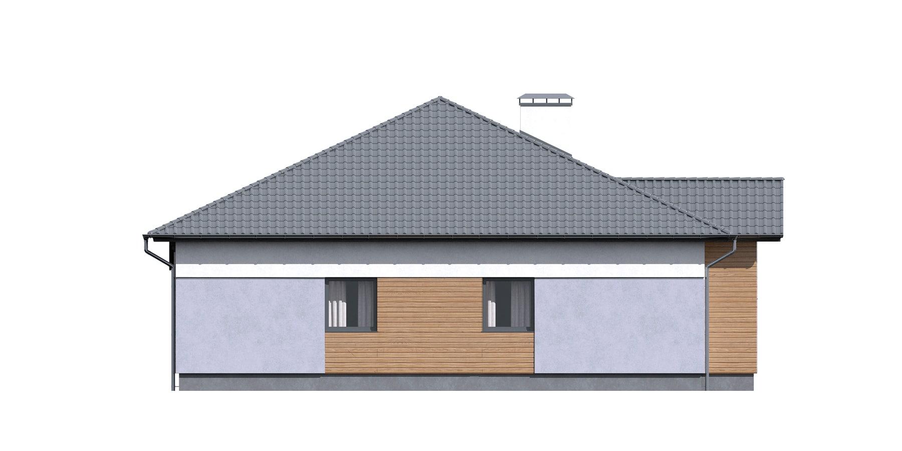 Фасад одноэтажного дома с террасой «КО-115» - сзади
