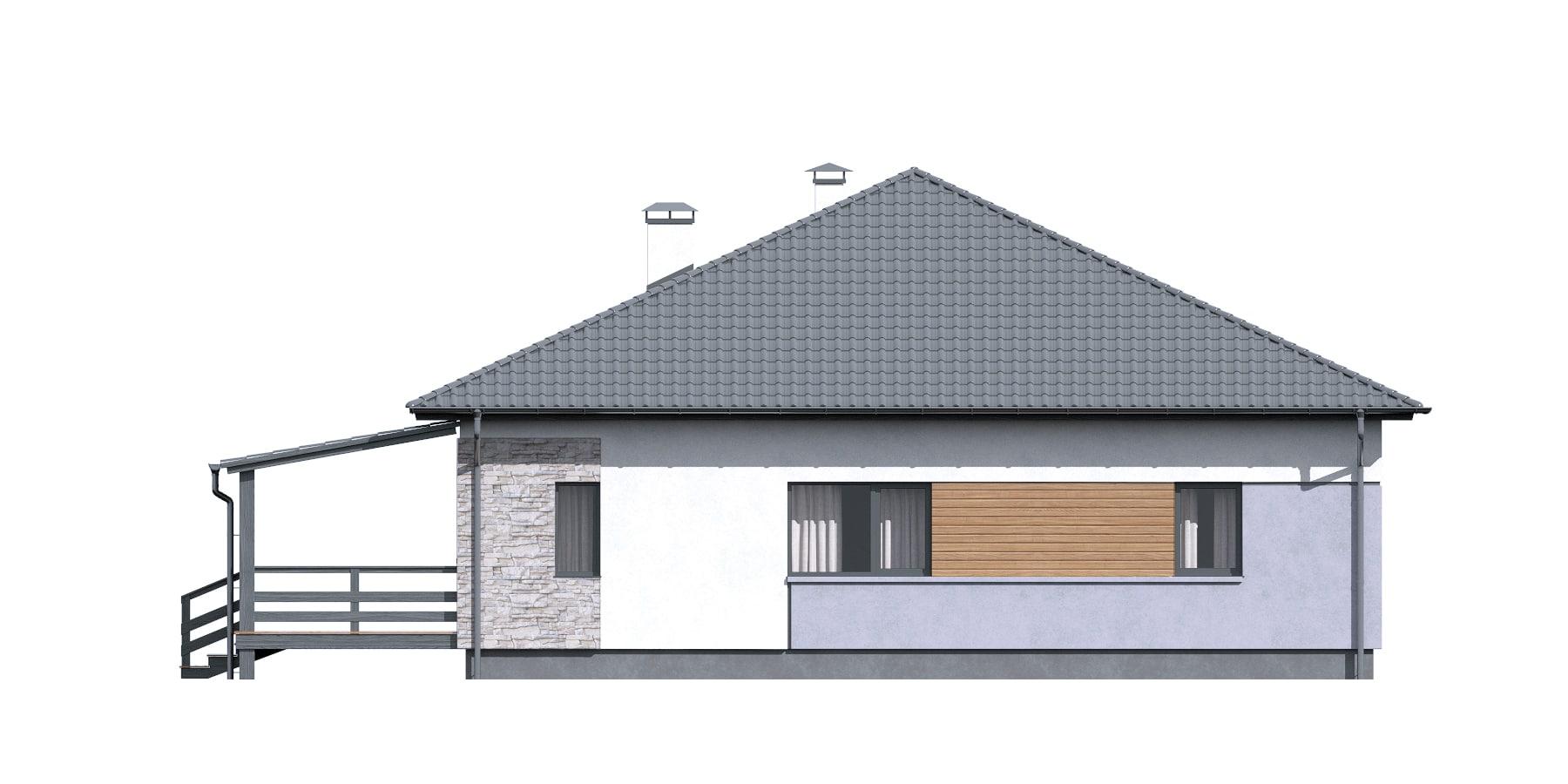 Фасад одноэтажного дома с террасой «КО-115» - справа