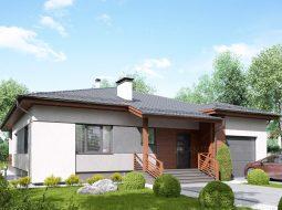 Проект одноэтажного дома с гаражом и террасой «КО-116»