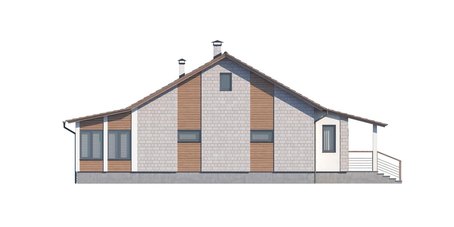 Фасад одноэтажного дома с гаражом и верандой «КО-117» - слева