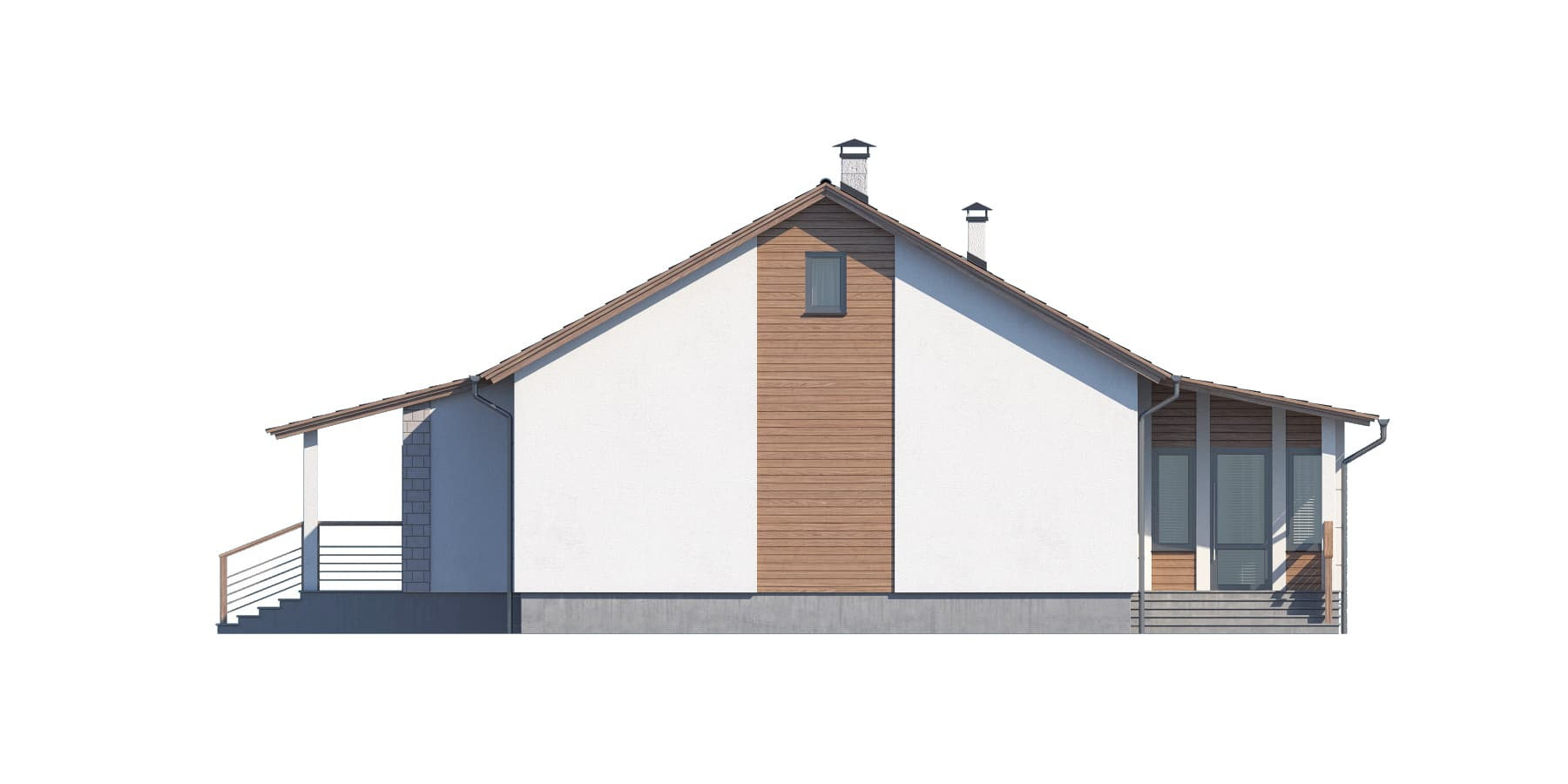 Фасад одноэтажного дома с гаражом и верандой «КО-117» - справа