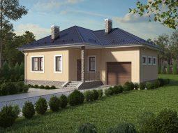 Проект одноэтажного дома с гаражом и террасой «КО-11»