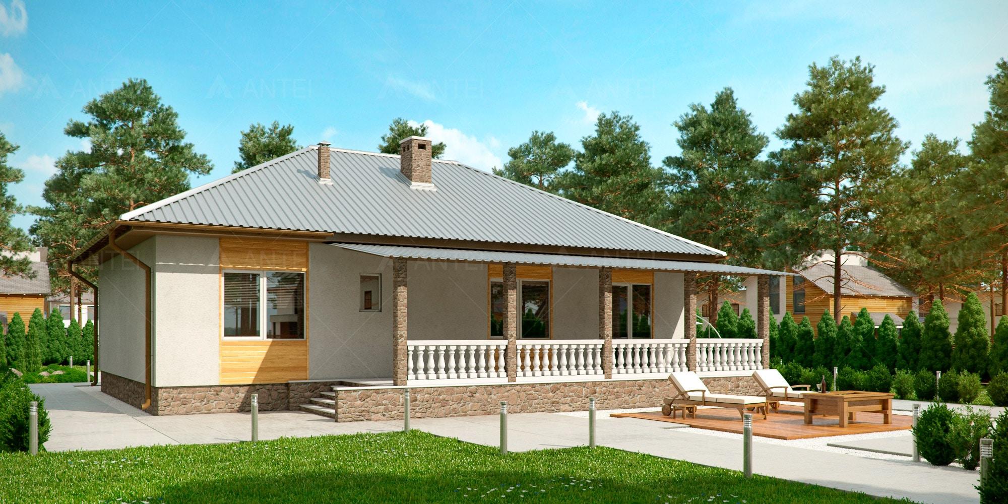 проект одноэтажных домов с верандой фото публикацией изображения