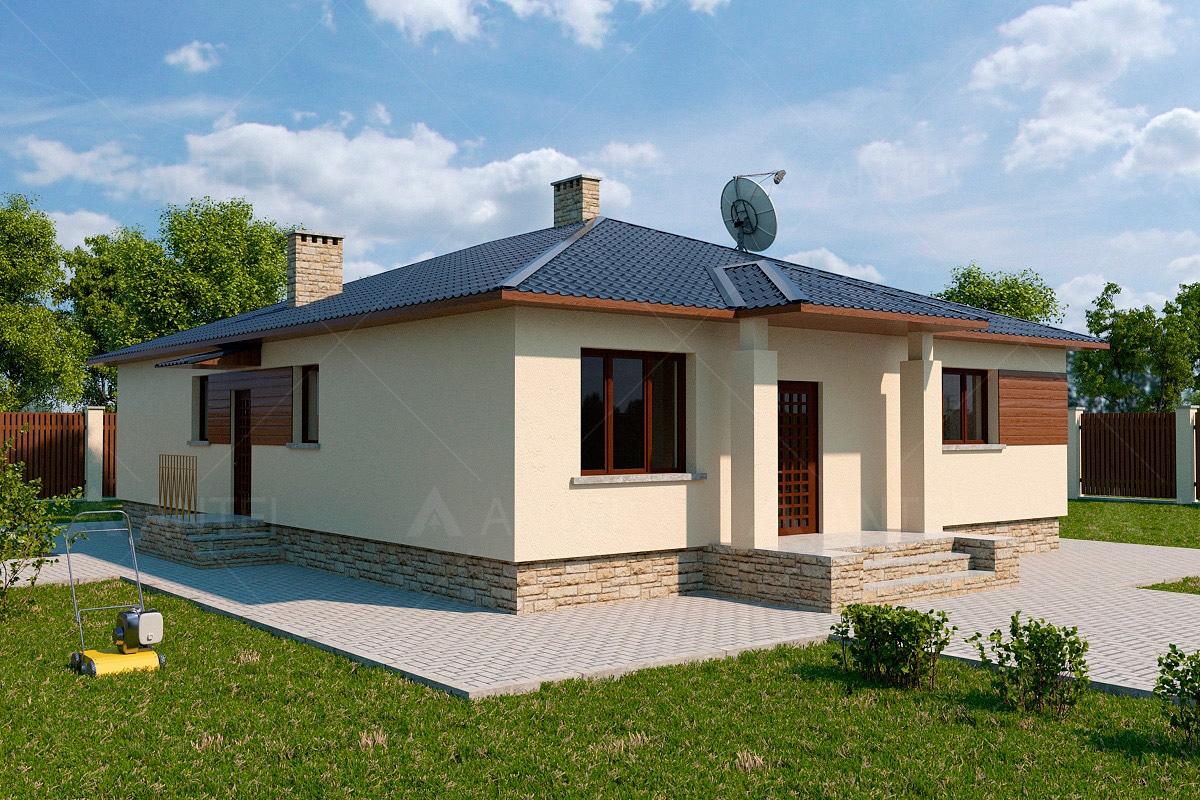 Проект одноэтажного дома с террасой «КО-122» - фото №1