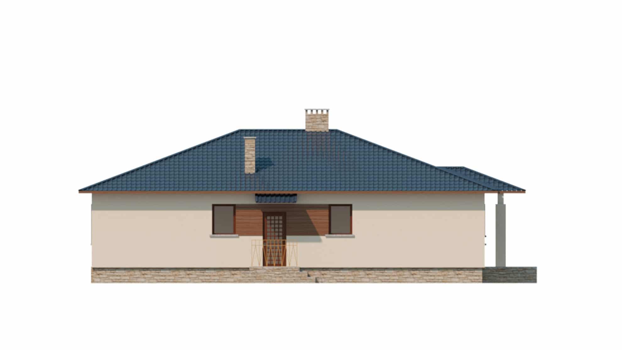 Фасад одноэтажного дома с террасой «КО-122» - слева