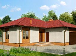 Проект одноэтажного дома с террасой и гаражом «КО-123»