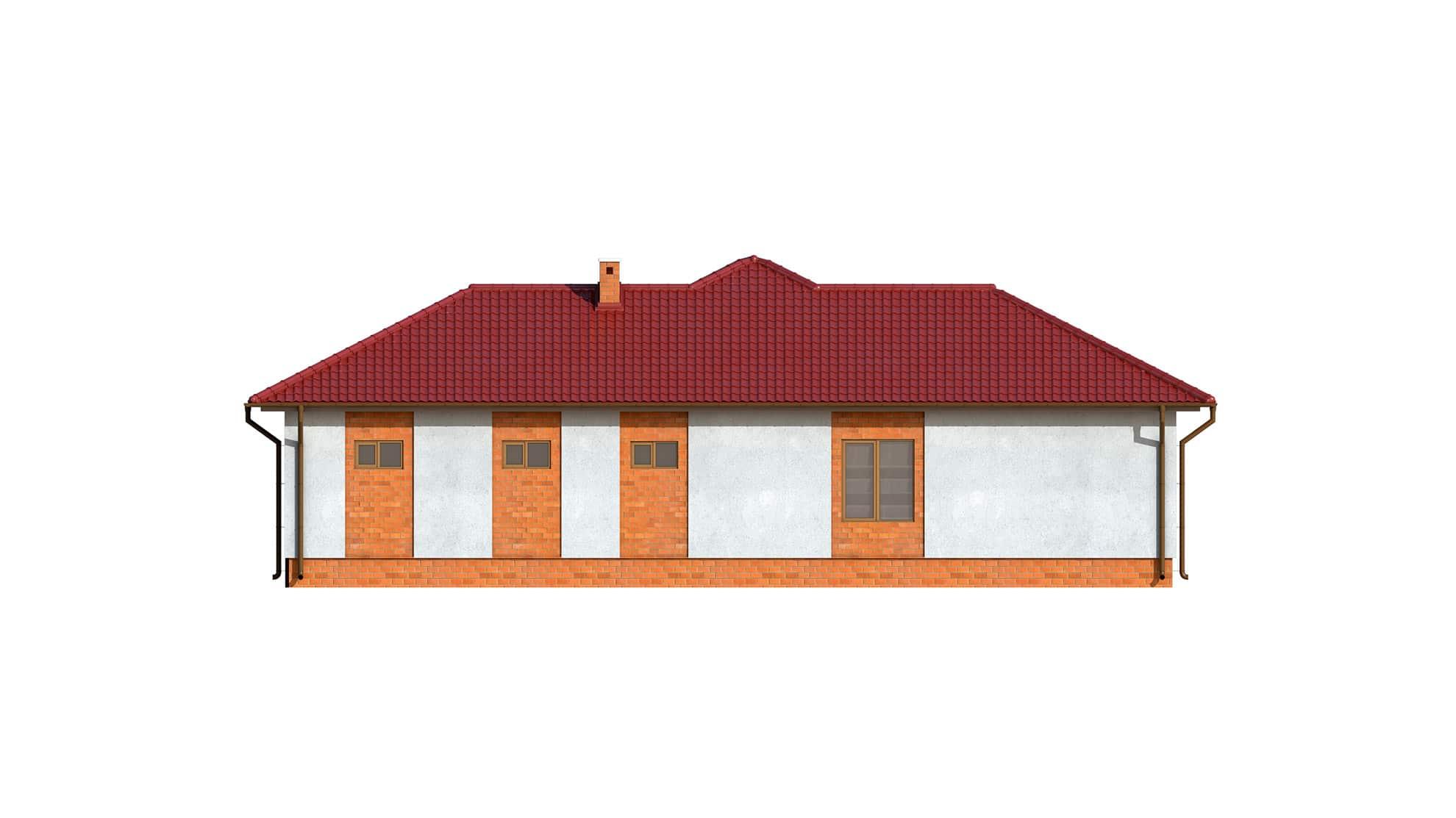 Фасад одноэтажного дома с террасой и гаражом «КО-123» - справа