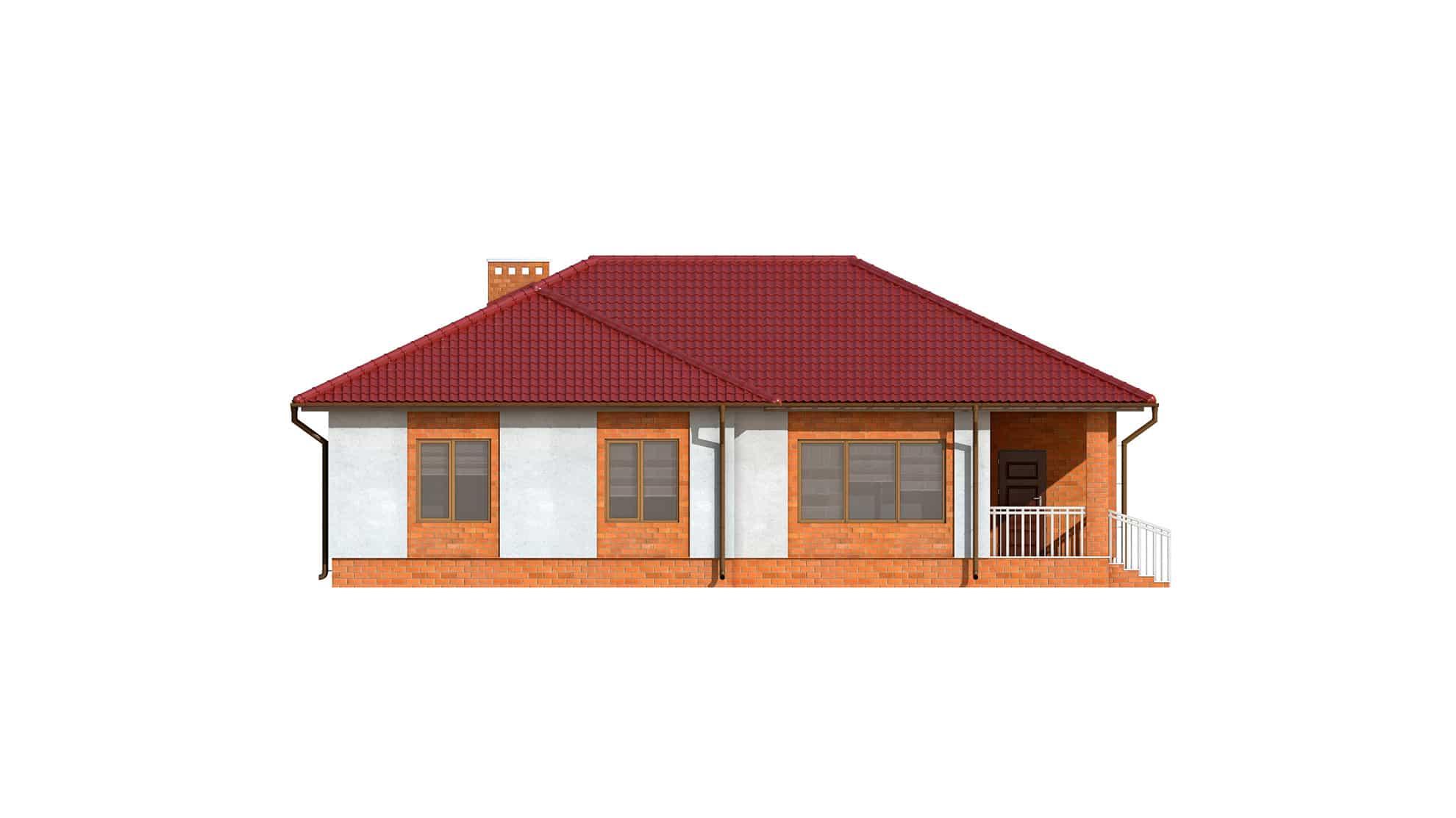 Фасад одноэтажного дома с террасой и гаражом «КО-123» - сзади