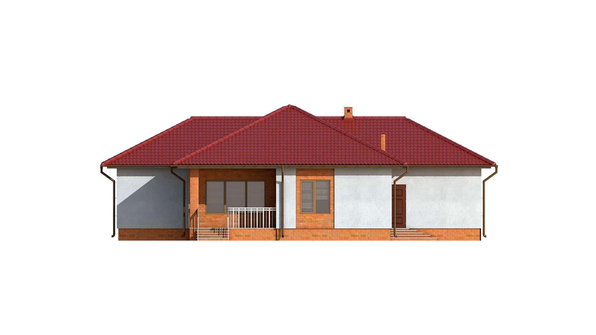 Фасад одноэтажного дома с террасой и гаражом «КО-123» - слева