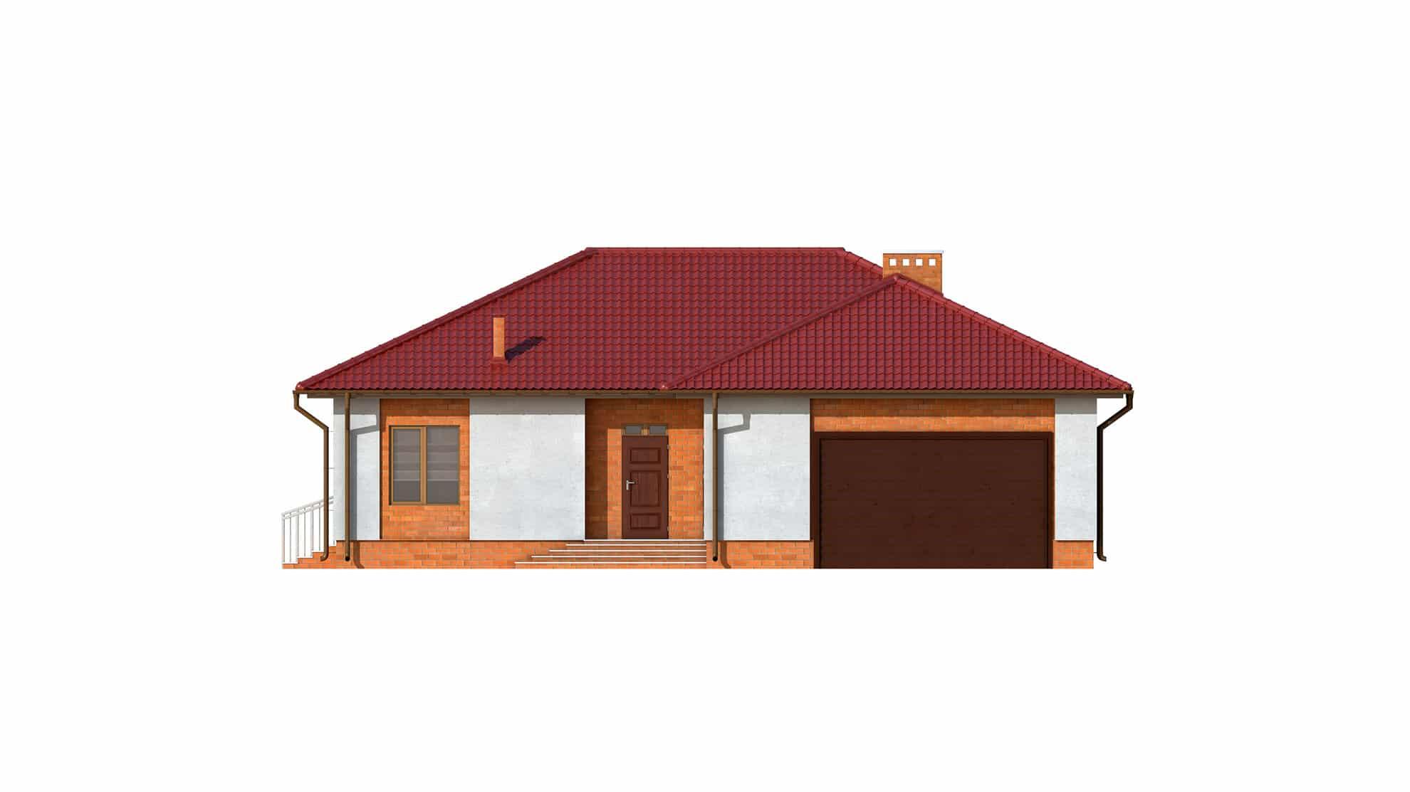 Фасад одноэтажного дома с террасой и гаражом «КО-123» - спереди