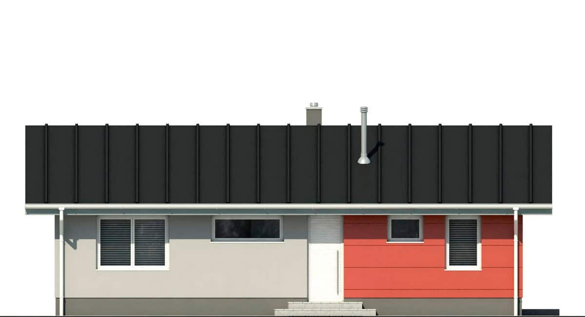 Фасад одноэтажного дома c террасой «КО-135» - спереди