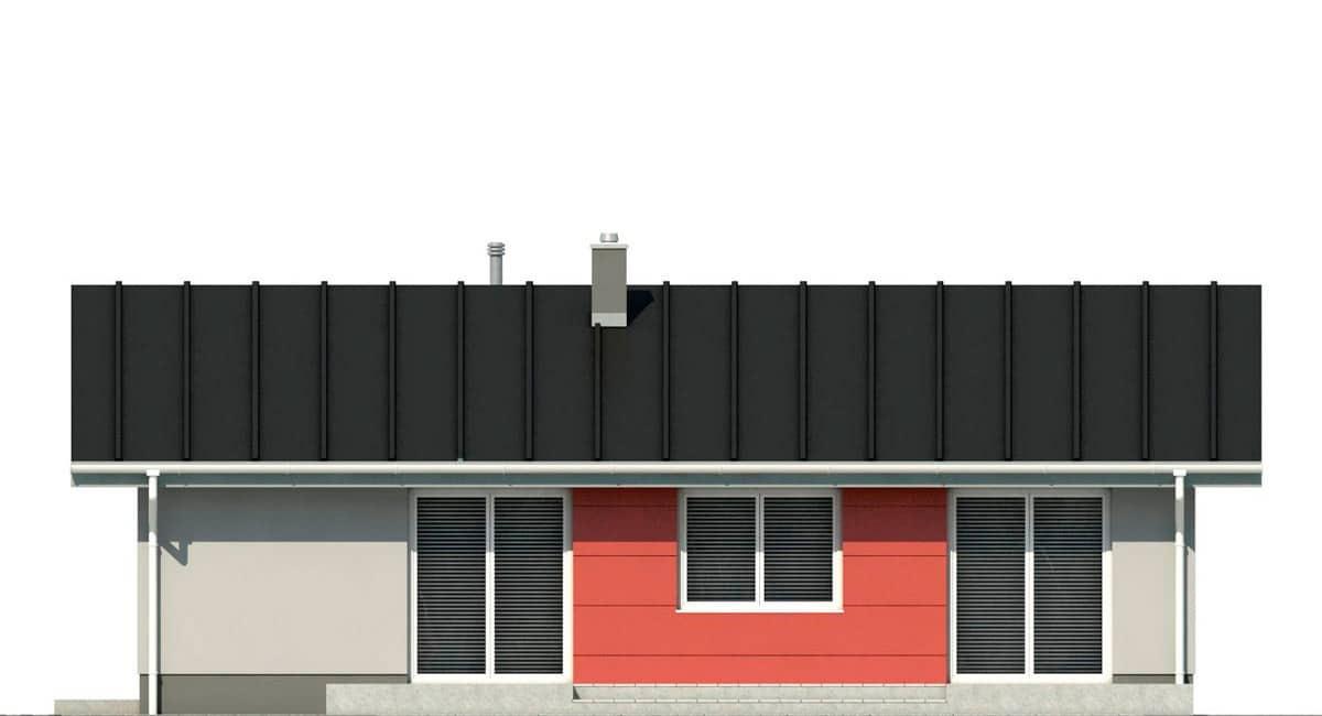 Фасад одноэтажного дома c террасой «КО-135» - сзади