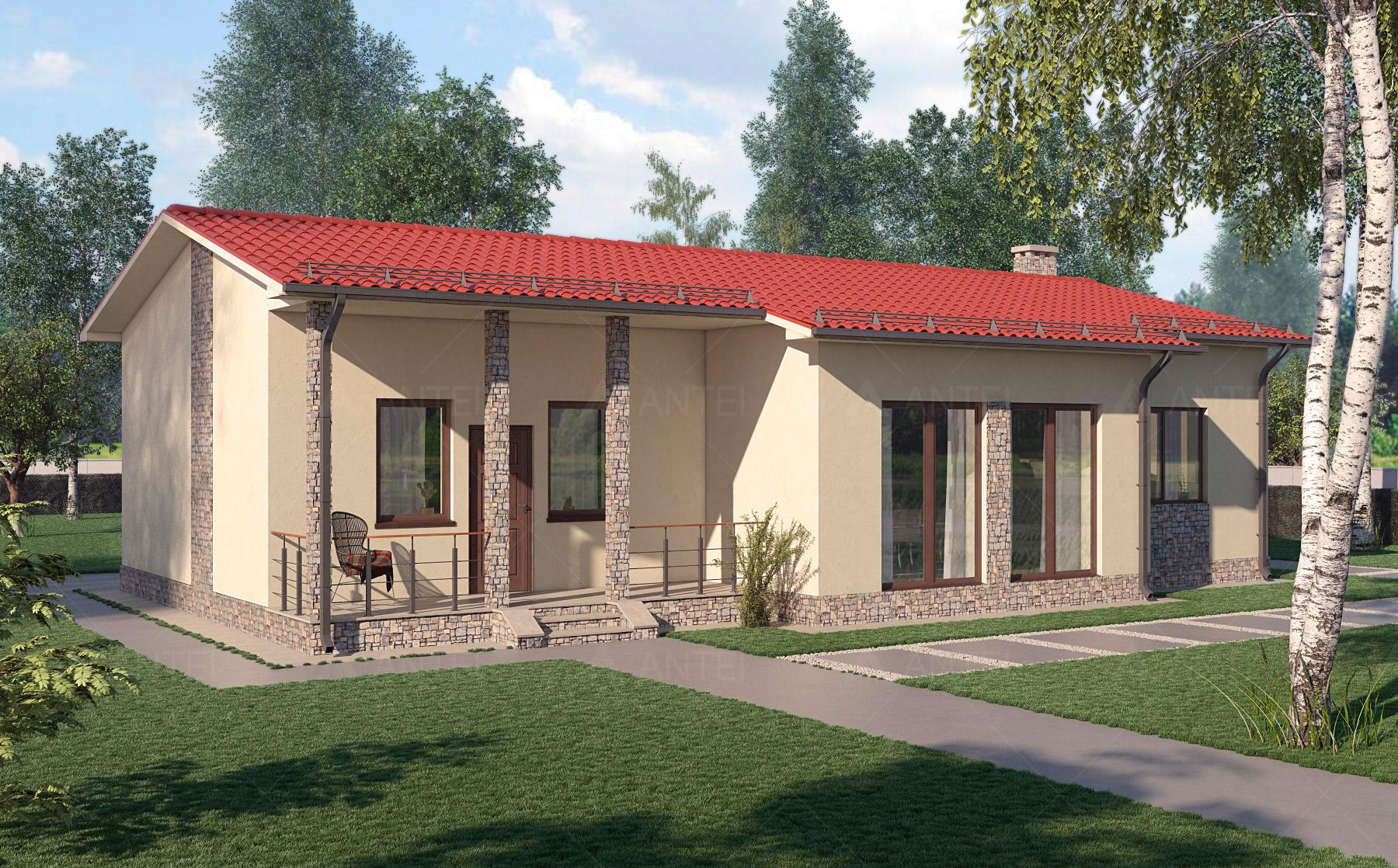Проект одноэтажного дома с террасой «КО-14» - фото №1