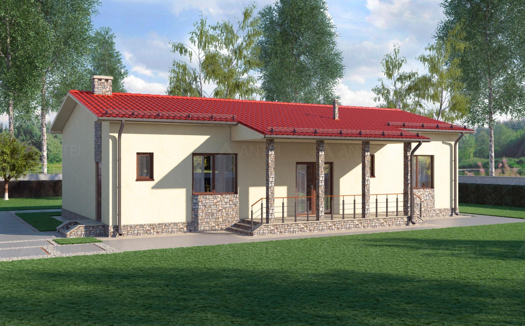 Проект одноэтажного дома с террасой «КО-14» - фото №2