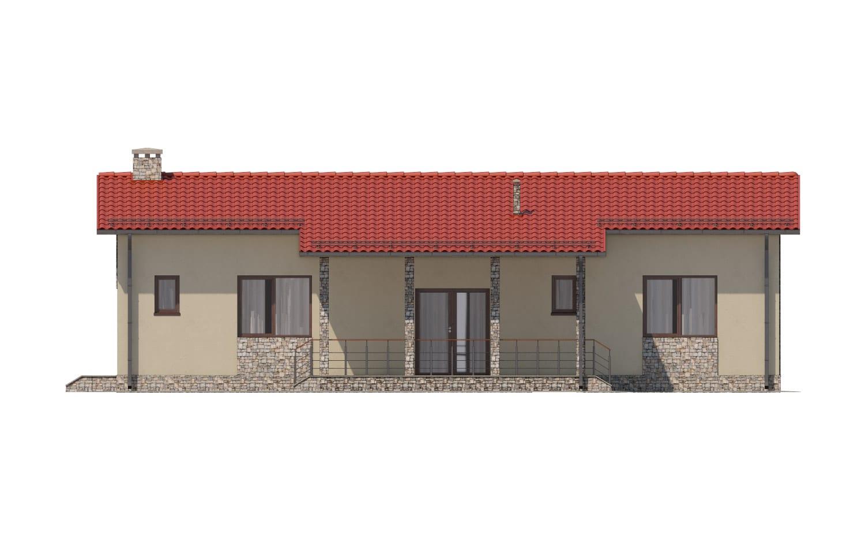 Фасад одноэтажного дома с террасой «КО-14» - сзади