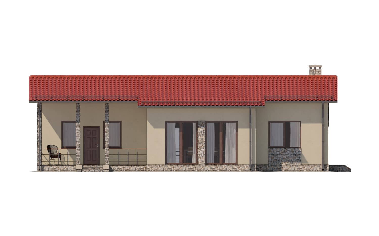 Фасад одноэтажного дома с террасой «КО-14» - спереди