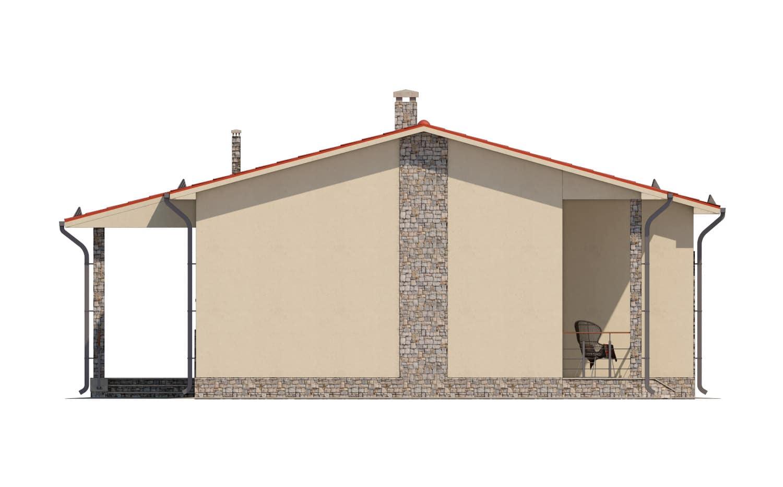 Фасад одноэтажного дома с террасой «КО-14» - справа