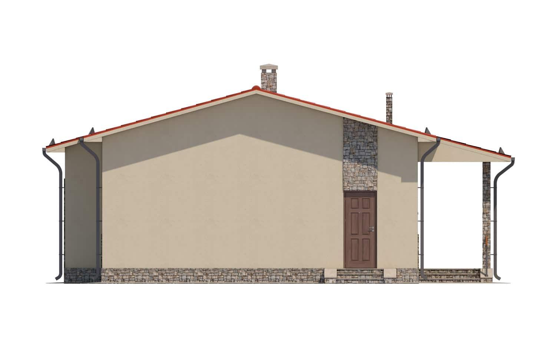 Фасад одноэтажного дома с террасой «КО-14» - слева