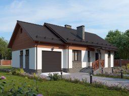 Проект одноэтажного дома с гаражом и террасой «КО-16»