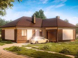 Проект одноэтажного дома с гаражом и террасой «КО-17»