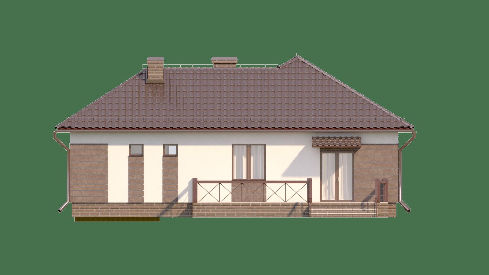 Фасад одноэтажного дома с гаражом и террасой «КО-17» - сзади