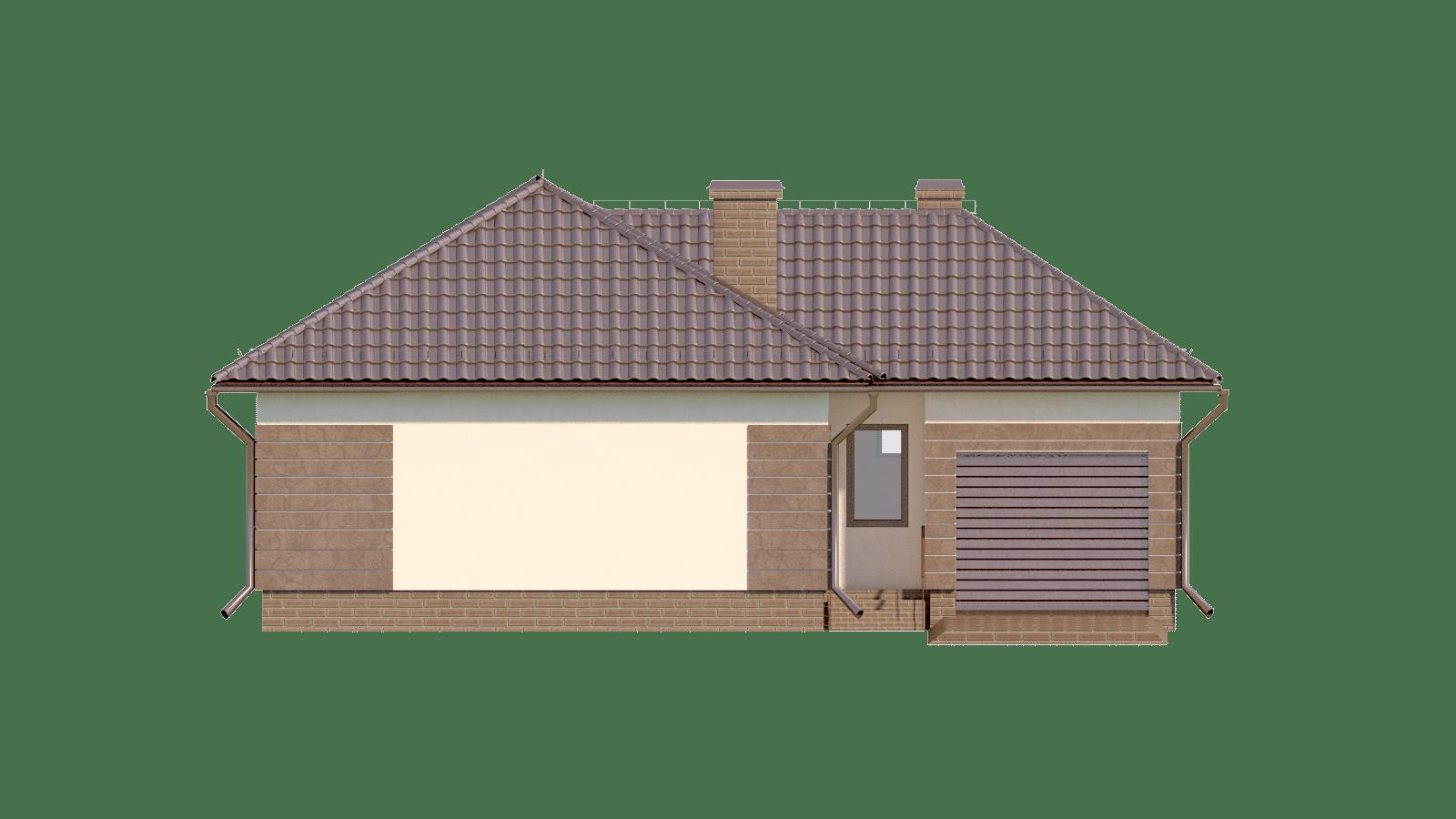 Фасад одноэтажного дома с гаражом и террасой «КО-17» - спереди