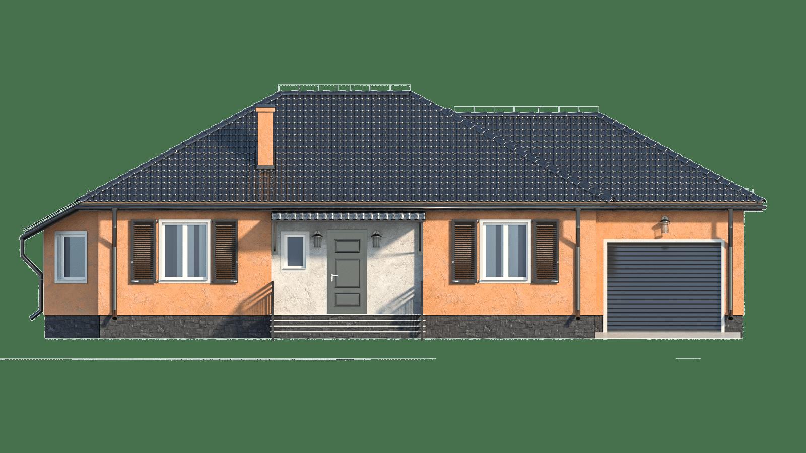 Фасад одноэтажного дома с гаражом «КО-19» - спереди