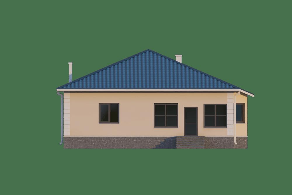 Фасад одноэтажного дома с верандой «КО-22» - сзади