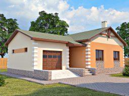 Проект одноэтажного дома с гаражом «КО-27»
